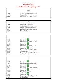 Spielplan 2011 - Golfclub Insel Langeoog e.V.