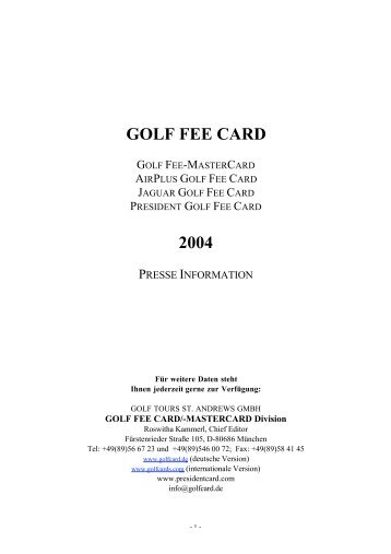 Purer GolfSparSpaß für weniger als 6 Euro im Monat? - Golf Fee Card