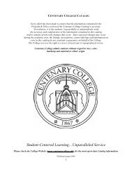 Download the Centenary Course Catalog for 2009-2010.