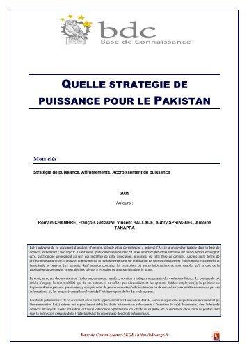 Quelle puissance pour le Pakistan - Base de connaissance AEGE