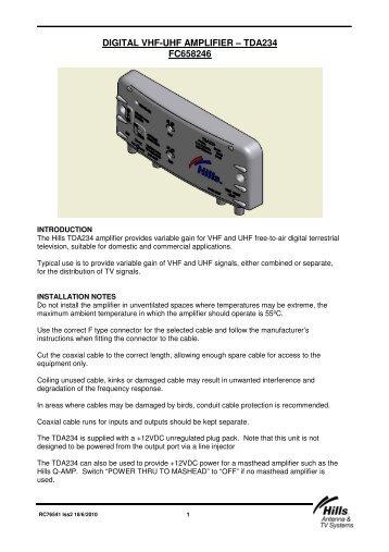digital vhf-uhf amplifier – tda234 fc658246 - Hills Antenna & TV ...