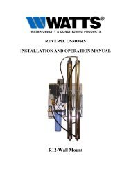 Watts R12 Series Commercial RO System Manual - Fresh Water ...