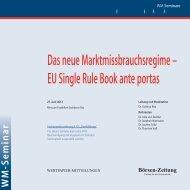 Das neue Marktmissbrauchsregime – EU Single ... - WM Seminare