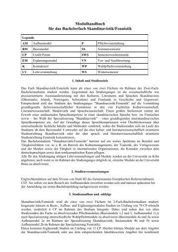 Modulhandbuch für das Bachelorfach Skandinavistik/Fennistik
