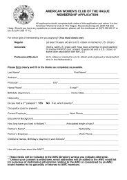 american women's club of the hague membership application