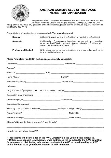 american women's club of the hague membership application