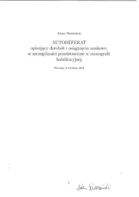 autoreferat - Akademia Wychowania Fizycznego we Wrocławiu