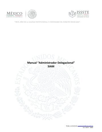 Manual de Administrador Delegacional Consulta los ... - issste :: siam