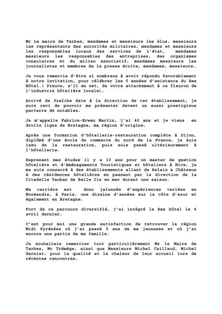 Discours Du 21 5 Ans Du Rex Tarbes Infos