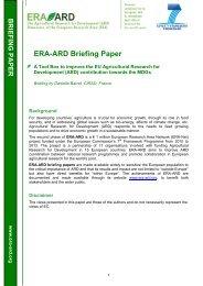 MDGs Tool box briefing paper - ERA ARD