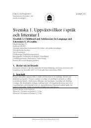Svenska 1. Uppväxtvillkor i språk och litteratur I - Umeå universitet