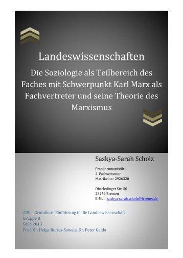 Die Soziologie als Teilbereich des Faches ... - Peter Gaida