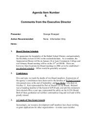 Agenda Item Number 6. Comments from the Executive Director