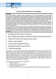 UNV VOLUNTEER DESCRIPTION OF ASSIGNMENT Preamble ...