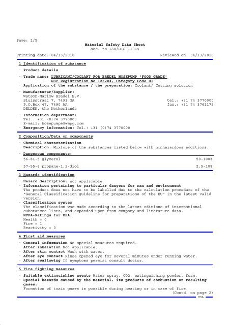 Bredel hose lubricant material safety datasheet - Watson-Marlow