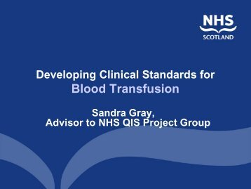 The Draft Standards - Serious Hazards of Transfusion