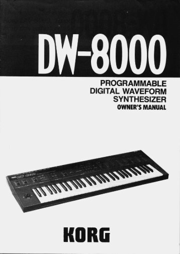 Korg DW-8000 Owner's Manual - SoundProgramming