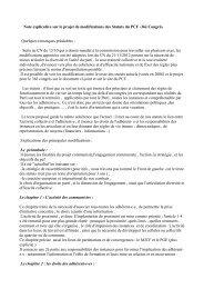 Note explicative sur le projet de modifications des Statuts du PCF ...
