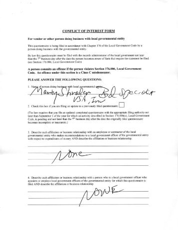 CONFLICT OF INTEREST FORM - Mesquite ISD