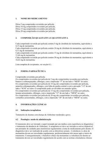 1. NOME DO MEDICAMENTO Ebixa 5 mg comprimidos ... - Lundbeck