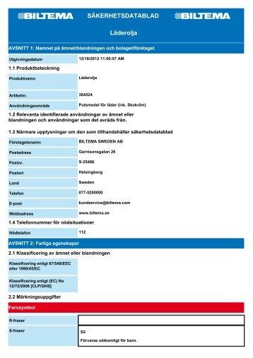 SÄKERHETSDATABLAD Läderolja - Biltema