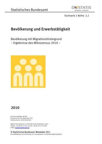 Bevölkerung mit Migrationshintergrund - Ergebnisse des ... - West