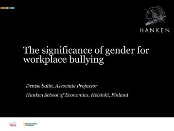 The significance of gender for workplace bullying - Svenska ...