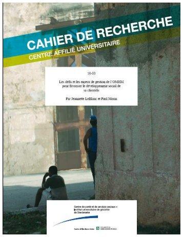 10-03 Cahier de recherche - Jeannette Leblanc ... - Csss-iugs.ca