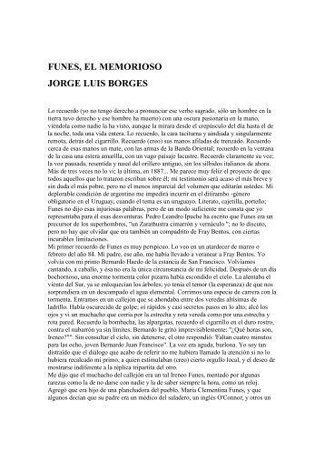 Jorge Luis Borges - Funes el memorioso - Imprenta Narcea