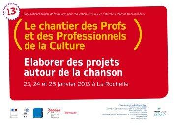 Le chantier des Profs et des Professionnels de la Culture - Les ...