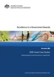 Excellence in e-Government Awards: 2006 Finalist Case Studies