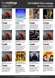 OCTOBER Film Listings More films on website - The Maltings
