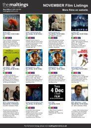 NOVEMBER Film Listings More films on website - The Maltings