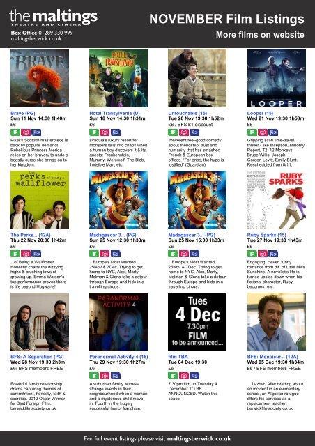 NOVEMBER Film Listings More films on website - The Maltings