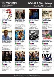 DEC-APR Film Listings More films TBA on website - The Maltings
