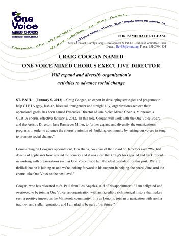 craig coogan named one voice mixed chorus executive director
