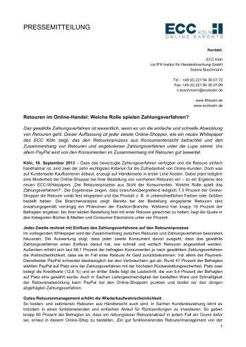 Retouren im Online-Handel: Welche Rolle spielen ... - ECC Köln
