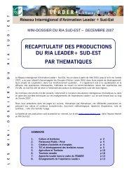 Récapitulatif des productions du RIA Leader+ Sud ... - Réseau Leader