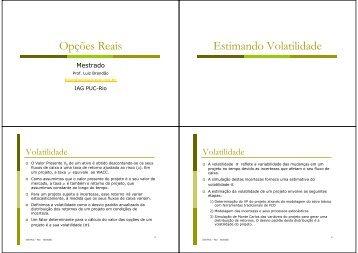 Volatilidade - IAG - A Escola de Negócios da PUC-Rio