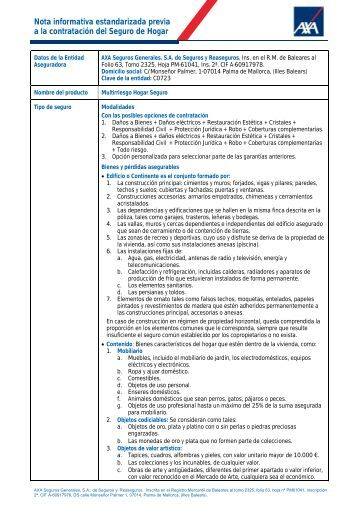 Nota informativa estandarizada previa a la contratación del ... - Axa