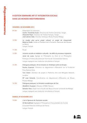 iii edition seminaire art et integration sociale dans les mondes ...