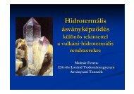 a hidrotermális ásványképződés általános jellemzői, aktív és ősi ...