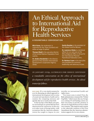An Ethical Approach to International Aid for Reproductive Health ...