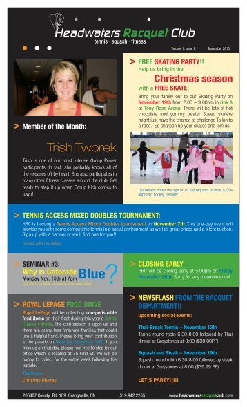 Trish Tworek - Headwaters Racquet Club