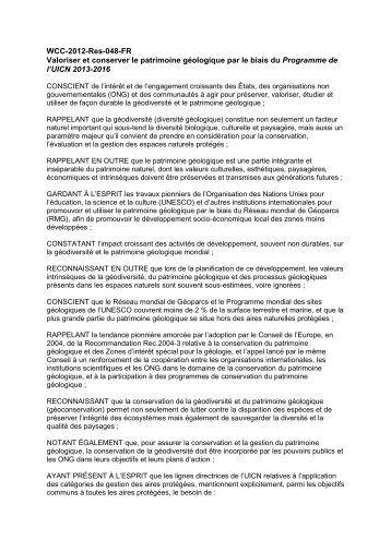 WCC-2012-Res-048-FR Valoriser et conserver le ... - IUCN Portals