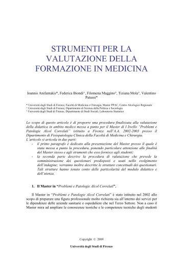 strumenti per la valutazione della formazione in medicina