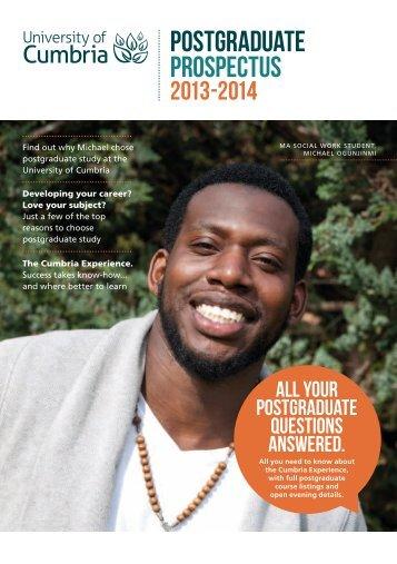Postgraduate Prospectus 2013-2014 - University of Cumbria
