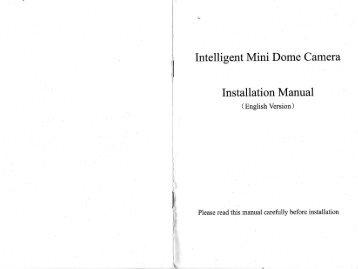 Intelligent Mini Dome Camera Installation Manual - Security Camera ...