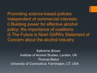 Global Alcohol Policy Alliance - The Silver Gate Group