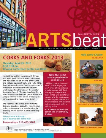 Spring 2013 ARTSbeat Newsletter - Decatur Area Arts Council